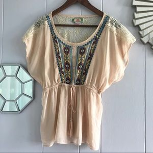 Flying Tomato Nude Lace Aztec Blouse M